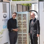 Ryan Wartena, Chief Strategy Officer of Geli, and Peter Nortman, COO of CODA Energy, present the new solar powered, EV fast charging station with CODA Core 40.20 ESS at the City of Benicia.